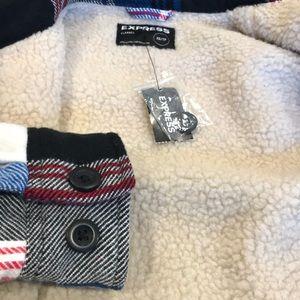 EXPRESS MENS Fur Lined Flannel Shirt Jacket Coat